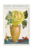 Yellow Rose in Vase Print
