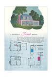 French House and Floor Plan Prints