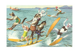 Crazy Cats Waterskiing Print