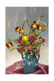 Yellow and Red Flowers in Blue Vase Affiche