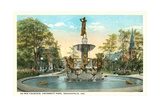 De Pew Fountain, University Park, Indianapolis Print