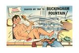Cartoon Man Bathing in Fountain Art