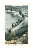 Traversing the Bossons Glacier, French Alps Posters