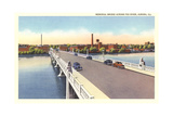 Memorial Bridge over Fox River, Aurora Posters