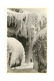 Hiker in Frozen Waterfall Prints