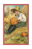 Boy Carving Jack O'Lantern Prints