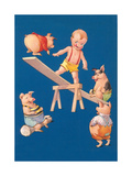 Baby and Pigs at Playground Posters