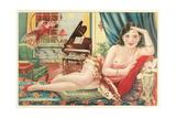 Semi-Nude Asian Woman with Gallah Print