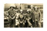 Lumberyard Workers in Rain Gear Prints