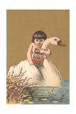 Child on Back of Swan Posters