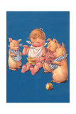 Baby with Pigs Eating Cereal Poster