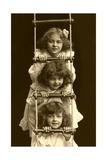 Three Girls on Rope Ladder Print