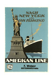 Ship and Statue of Liberty Posters