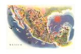 Tourist Map of Mexico Kunstdrucke