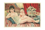 Semi-Nude Asian Woman with Infant and Cats Prints