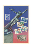 Soviet Statue and Stamps Poster
