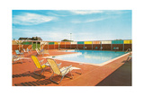 Swimming Pool with Deck Chairs Posters
