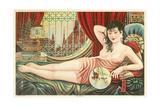 Semi-Nude Asian Woman with Fan Prints