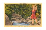 Woman Fishing, Basalt Posters
