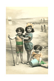 Little Girls on Beach Poster