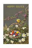 Happy Easter, Nestled Basket with Colored Eggs - Poster