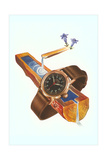 Wristwatch on Wooden Trough Posters