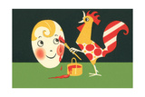 Rooster Painting Easter Egg - Sanat