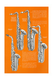 Four Saxophones Print