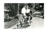 Couple on Motor Scooter Posters