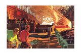 Workers in Steel Mill Prints