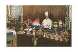 Chef with Elaborate Buffet Poster