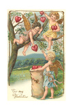 Cupids Picking Hearts Prints