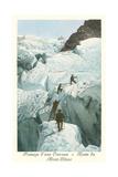 Crossing a Crevasse, Mont-Blanc Route Kunstdrucke