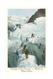Crossing a Crevasse, Mont-Blanc Route Print