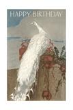Happy Birthday White Peacock Prints