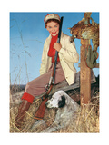 Woman with Rifle, Dog and Pheasant Posters