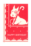 Happy Birthday Scottie Dog with Cane Print
