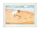 Boy Digging in Sand Prints