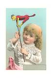 Victorian Girl with Puppet Prints
