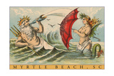 King Neptune with Mermaid, Myrtle Beach Posters
