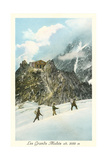 Les Grands Mulets, Winter Hikers in the Alps Poster