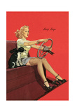 Girl with Steering Wheel Posters