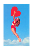 Jumping Woman with Red Heart Prints