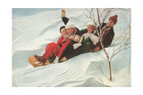 Four People on a Toboggan Posters