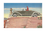 Tourists in Convertible Car on Mesa Art