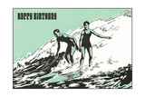 Happy Birthday Surfers Prints