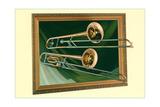 Two Trombones in Frame Art