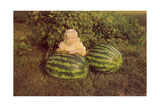 Baby Girl with Two Watermelons Art