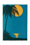 Sunset over Ocean with Palm Tree Poster