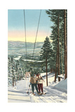 Girls on Skis Riding Tow Rope Art